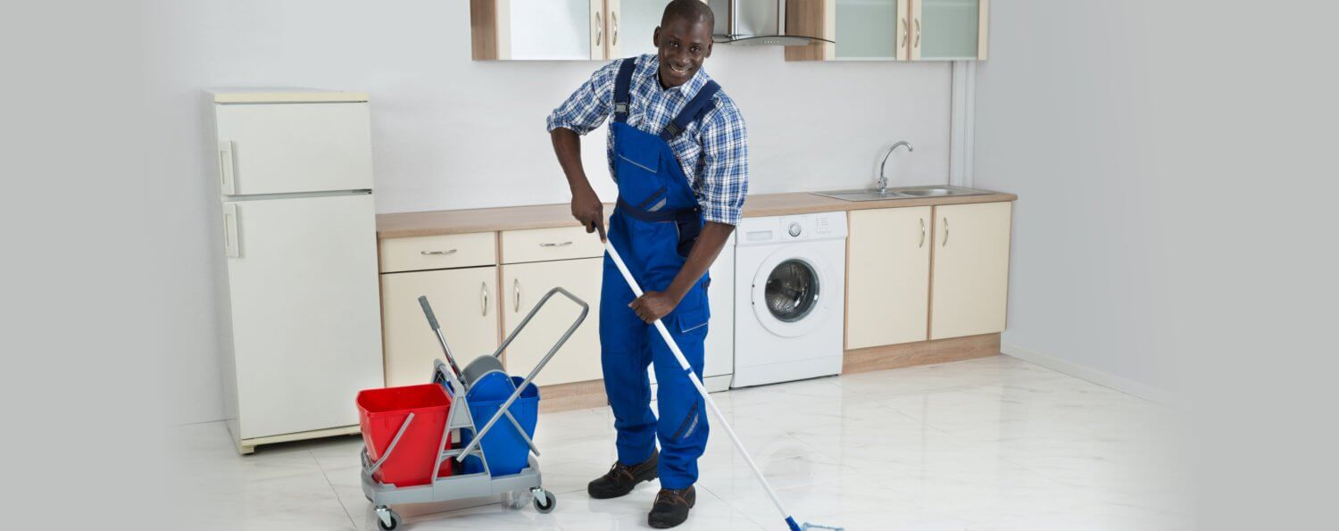 staff cleaning